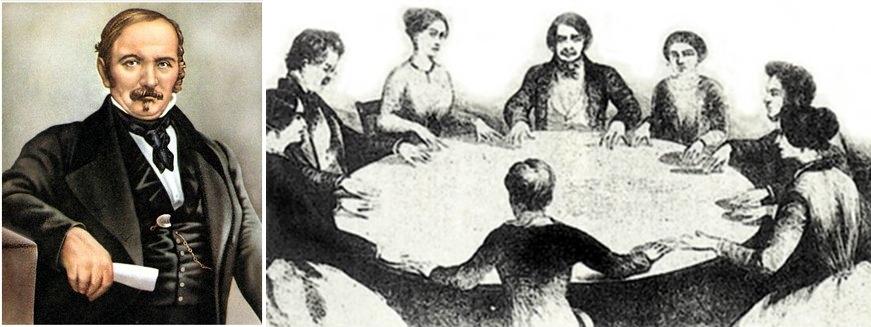 """Allan Kardec (til venstre)  studerte fenomenen av """"roterende bordene""""  i Paris (til høyre)."""