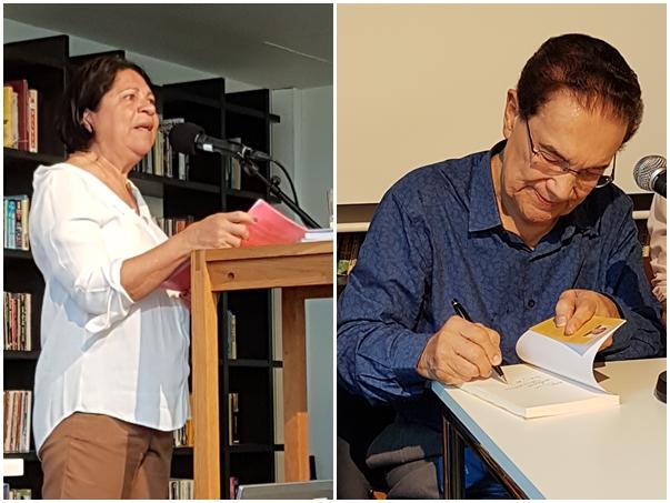 Cristina Latini, GEEAKs  tidligere  koordineringsansvarlig, åpnet med foredraget (til venstre). Dilvado (til høyre) signerte mange av sine bøker som ble solgt under arrangementet.